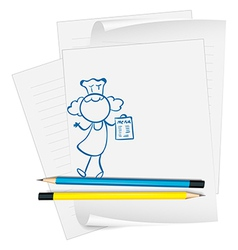 A paper with a drawing of a girl holding a menu vector image vector image