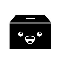 Box carton packing kawaii character vector