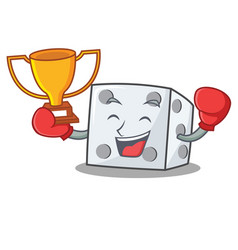 Boxing winner dice character cartoon style vector