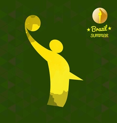 Brazil summer sport card with an yellow abstract v vector image vector image