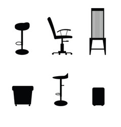 Chair set in black color vector
