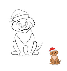 Coloring book with puppy in cartoon style vector