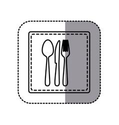 contour emblem metal cutlery icon vector image vector image