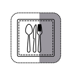contour emblem metal cutlery icon vector image