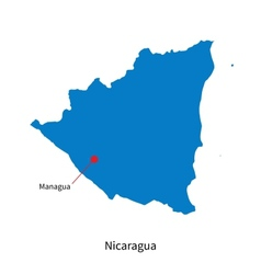 Detailed map of Nicaragua and capital city Managua vector image