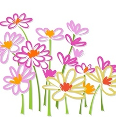 Freehand colorful flower sketch vector