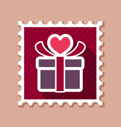 Gift box sign stamp present heart love symbol vector