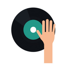 Hand dj playing vinyl vector