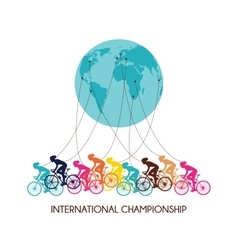 International cycling race abstract poster design vector