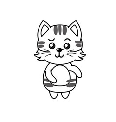 line cute cat wild animal with face expression vector image