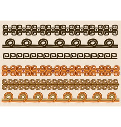 Native american pattern border set vector