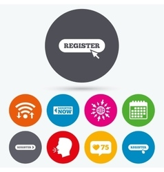 Register with hand pointer icon Mouse cursor vector image