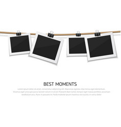 set of photo hanged on rope realistic vector image vector image