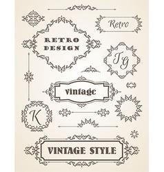 Set of Retro Vintage Badges Frames Labels and vector image vector image