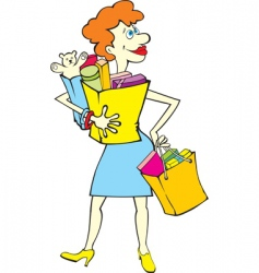 shopping woman with bags vector image vector image