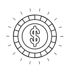 Silhouette front view coin with dollar symbol vector