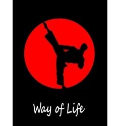 Silhouette of a karateka doing standing side kick vector