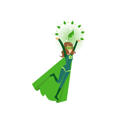 Smiling eco superhero fly with hands up vector