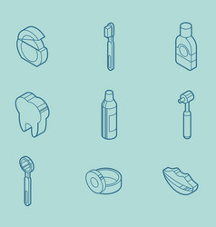 Stomatology outline isometric set vector