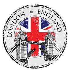 Tower Bridge grunge stamp with flag London hand vector image
