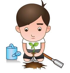 white shirt volunteer planting tree vector image