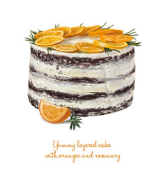 Yummy layered cake with oranges and rosemary vector