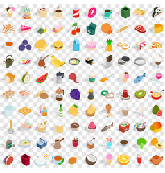 100 culinary icons set isometric 3d style vector