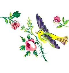 Flying bird with branch of a rose isolated white vector