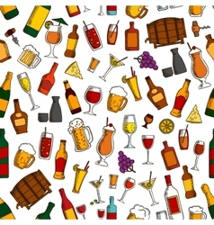 Aperitif drinks and cocktails seamless pattern vector