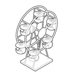 Ferris wheel icon outline style vector