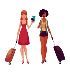 Two girls black and caucasian travelling together vector