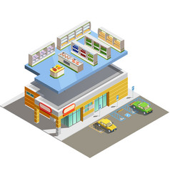 supermarket store building isometric exterior view vector image
