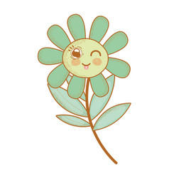 Kawaii funny flower plant with tongue outside vector