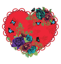Vintage roses ornament and heart vector