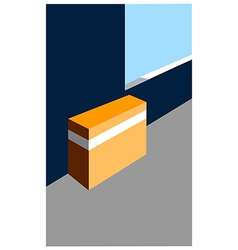 Closed box on floor vector