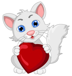Cute cat cartoon expression with love heart vector