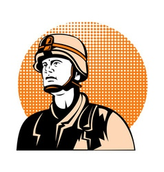 American soldier looking up vector