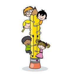 Children climbing up a pencil vector