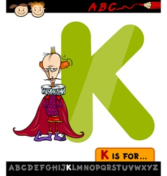 Letter k for king cartoon vector