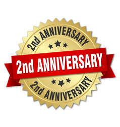 2nd anniversary round isolated gold badge vector