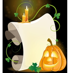 Smiling jack o lantern parchment and burning vector