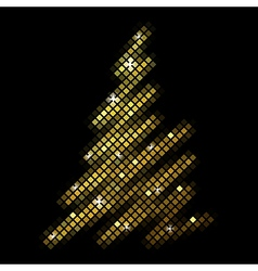 christmas fir tree from disco mosaic vector image