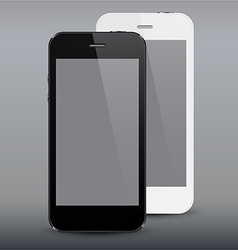 Realistic black and white smartphones vector