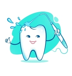 Happy tooth with irrigator vector