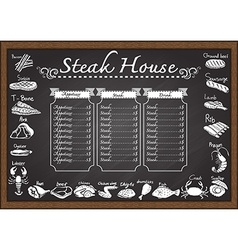 Steak menu on chalkboard vector