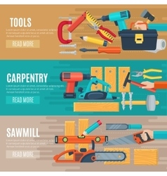 Horizontal carpentry banners with tools kit vector