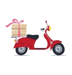 Funny red scooter with pizza pizza delivery vector