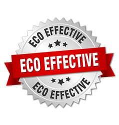 Eco effective 3d silver badge with red ribbon vector