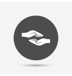 Helping hands sign icon charity or endowment vector