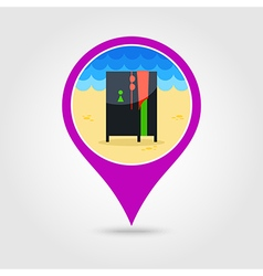 Cloakroom on the beach pin map icon vacation vector